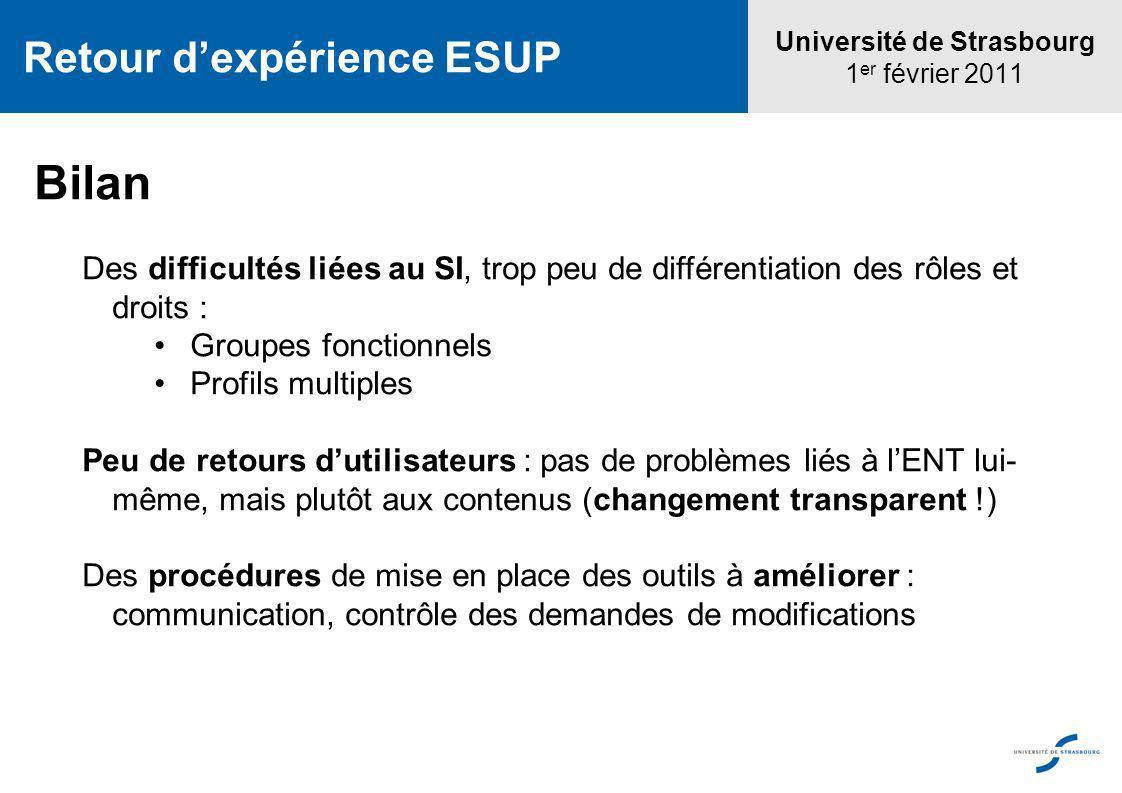 Université de Strasbourg 1 er février 2011 Retour dexpérience ESUP Bilan Des difficultés liées au SI, trop peu de différentiation des rôles et droits