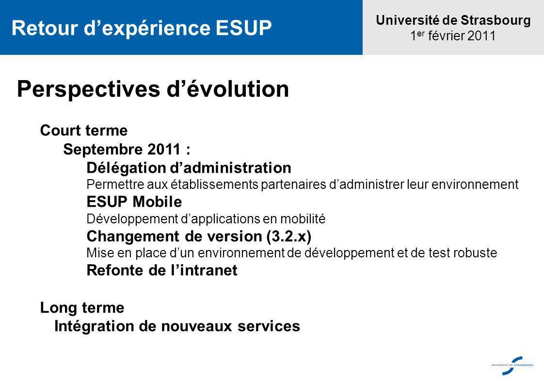 Université de Strasbourg 1 er février 2011 Retour dexpérience ESUP Perspectives dévolution Court terme Septembre 2011 : Délégation dadministration Per
