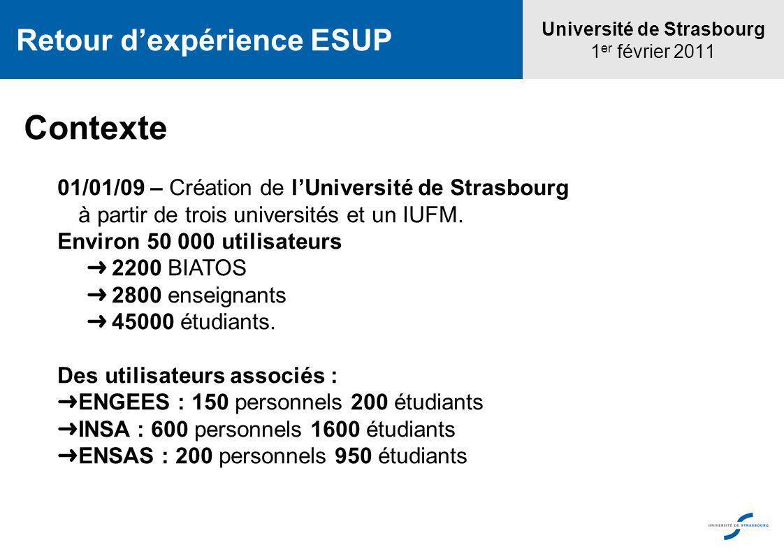 Contexte 01/01/09 – Création de lUniversité de Strasbourg à partir de trois universités et un IUFM. Environ 50 000 utilisateurs 2200 BIATOS 2800 ensei