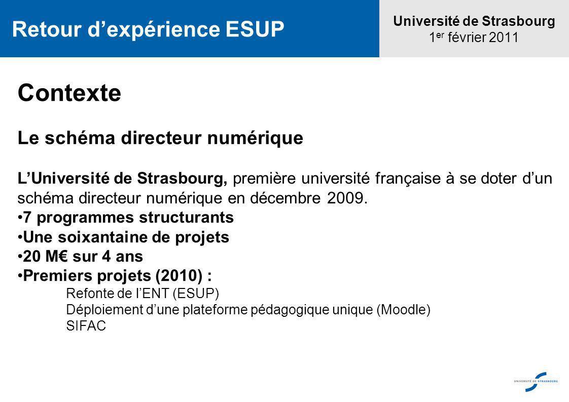Contexte Le schéma directeur numérique LUniversité de Strasbourg, première université française à se doter dun schéma directeur numérique en décembre