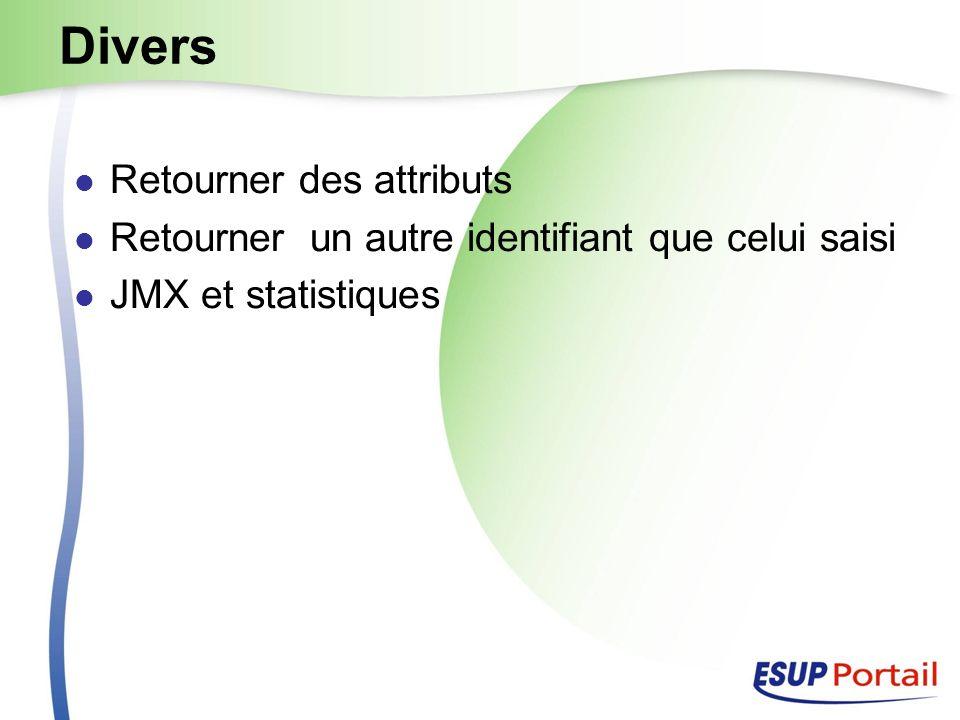 Divers Retourner des attributs Retourner un autre identifiant que celui saisi JMX et statistiques