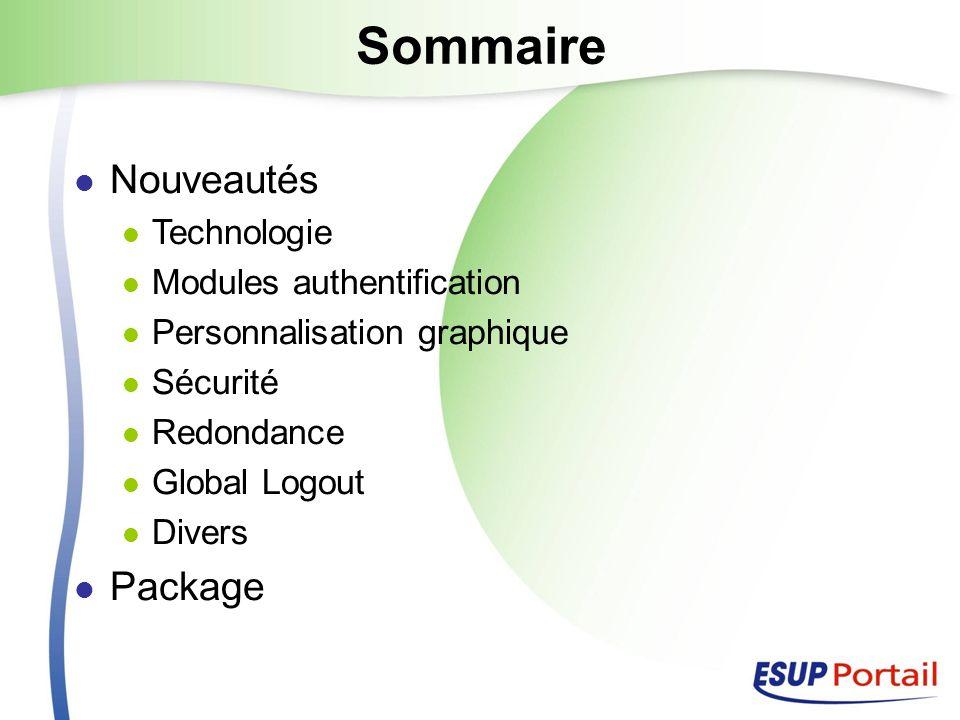 Sommaire Nouveautés Technologie Modules authentification Personnalisation graphique Sécurité Redondance Global Logout Divers Package