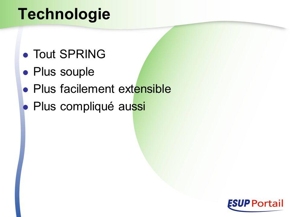 Technologie Tout SPRING Plus souple Plus facilement extensible Plus compliqué aussi