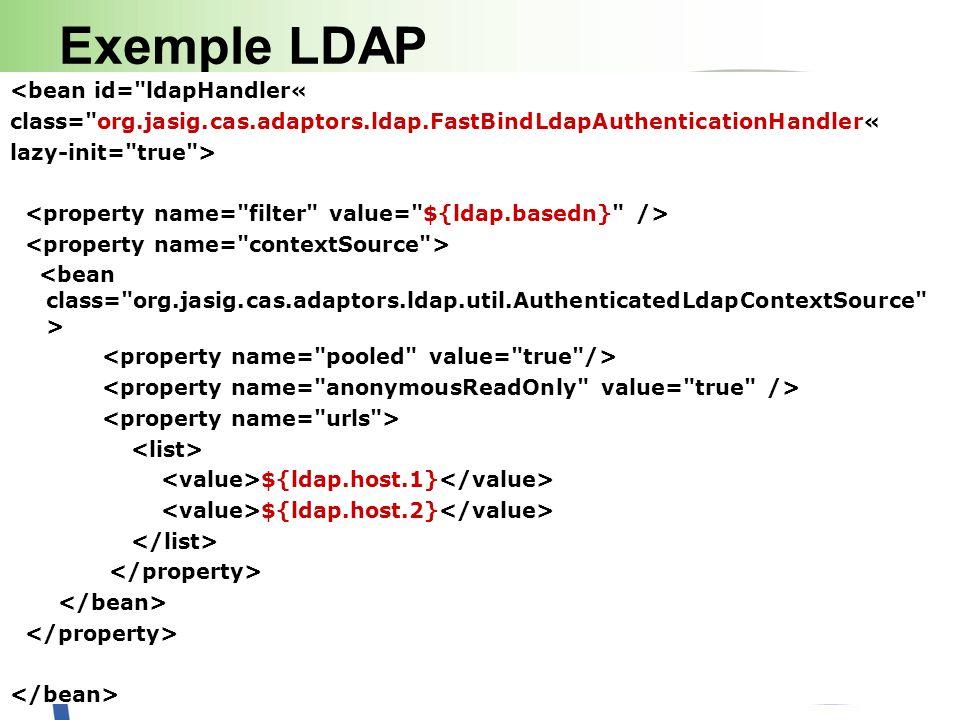 Exemple LDAP <bean id= ldapHandler« class= org.jasig.cas.adaptors.ldap.FastBindLdapAuthenticationHandler« lazy-init= true > ${ldap.host.1} ${ldap.host.2}