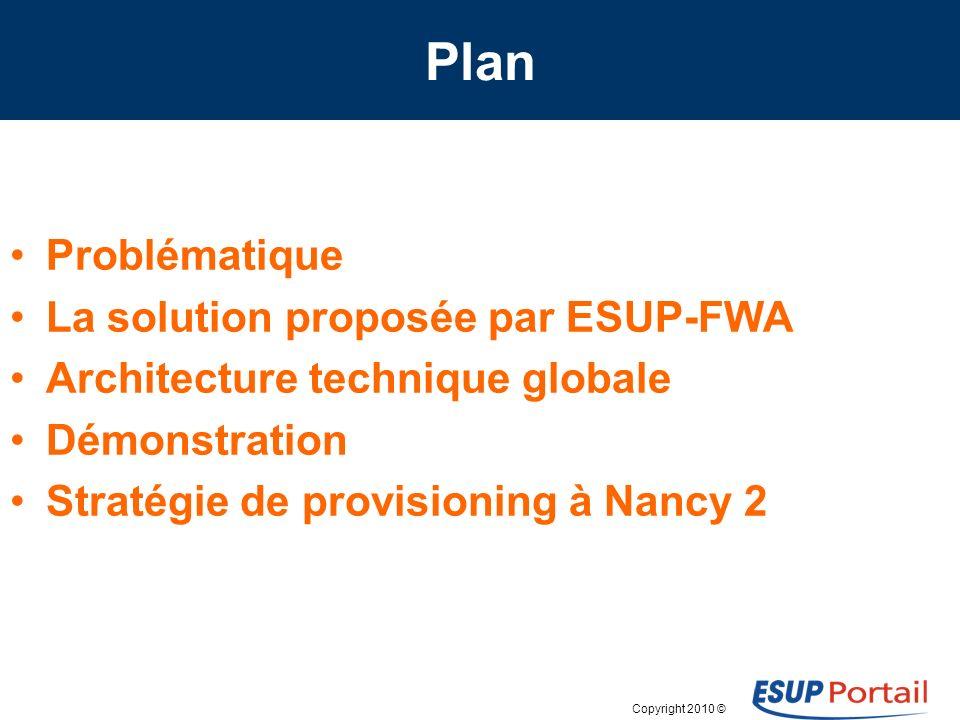 Copyright 2010 © Plan Problématique La solution proposée par ESUP-FWA Architecture technique globale Démonstration Stratégie de provisioning à Nancy 2