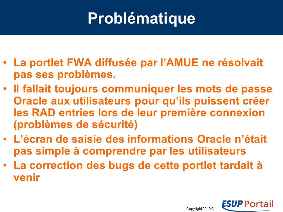 Copyright 2010 © Problématique La portlet FWA diffusée par lAMUE ne résolvait pas ses problèmes. Il fallait toujours communiquer les mots de passe Ora