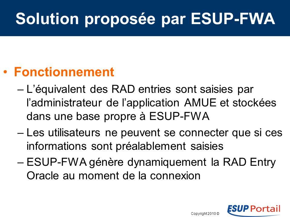 Copyright 2010 © Solution proposée par ESUP-FWA Fonctionnement –Léquivalent des RAD entries sont saisies par ladministrateur de lapplication AMUE et s