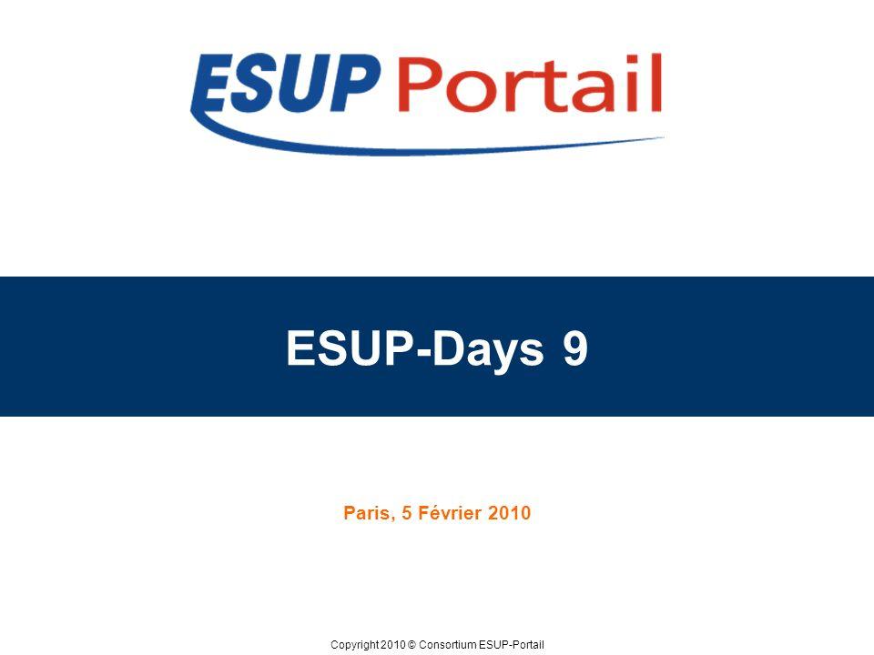 Copyright 2010 © ESUP-Days 9 Paris 5 Février 2010 ESUP-Portail Nouvelle structure –Evolution du nombre dadhérents 35 membres au 1/05/09 51 membres au 31/12/09