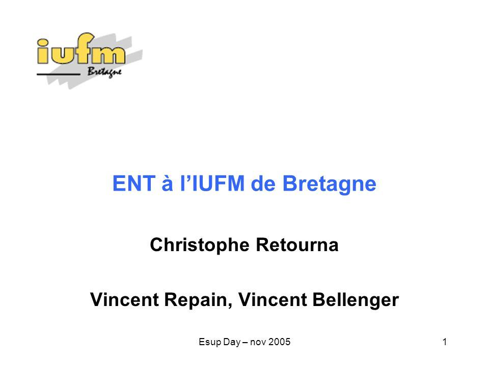 Esup Day – nov 20052 IUFM de Bretagne 3183 étudiants et stagiaires 133 formateurs temps plein, 428 au total 150 Biatos environ 5000 usagers 5 sites de formation 9 + 7 informaticiens