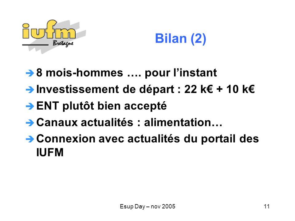 Esup Day – nov 200511 Bilan (2) 8 mois-hommes ….