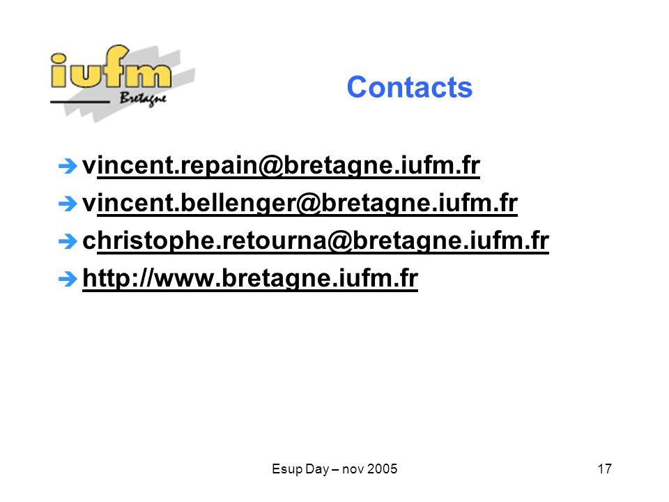 Esup Day – nov 200517 Contacts vincent.repain@bretagne.iufm.frincent.repain@bretagne.iufm.fr vincent.bellenger@bretagne.iufm.frincent.bellenger@bretagne.iufm.fr christophe.retourna@bretagne.iufm.frhristophe.retourna@bretagne.iufm.fr http://www.bretagne.iufm.fr