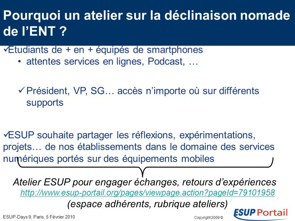 Copyright 2008 © Consortium ESUP-Portail Lévolution des services numériques à partir de dispositifs nomades Panorama des réflexions et études en cours