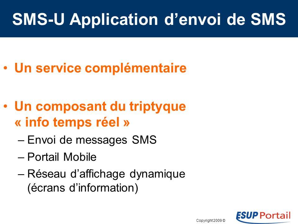 Copyright 2009 © Copie de lécran « Envoi SMS » (portlet smsu)