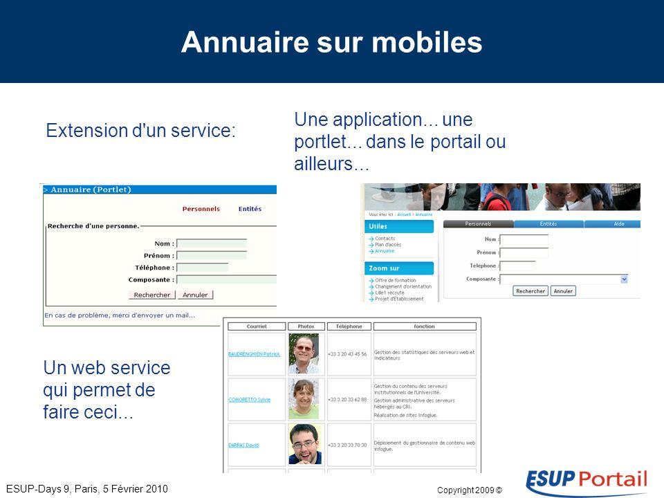 Copyright 2009 © Annuaire par Yves Deschamps Lille 1 Pousser vers les mobiles un service existant du portail.