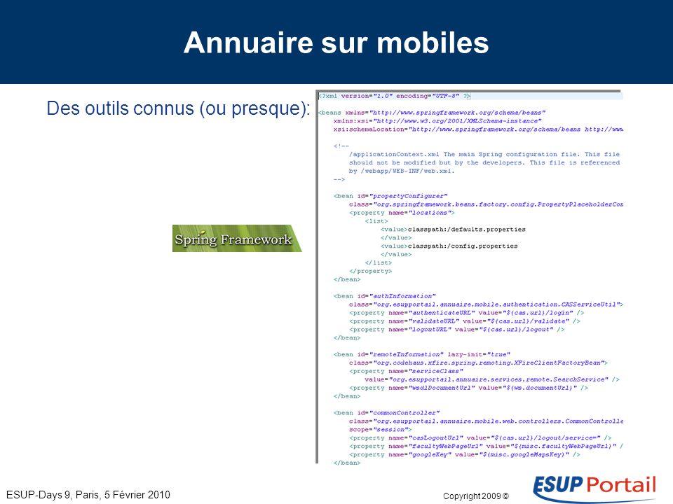 Copyright 2009 © Annuaire sur mobiles Des outils connus (ou presque): ESUP-Days 9, Paris, 5 Février 2010 Une documentation suffisante pour commencer..