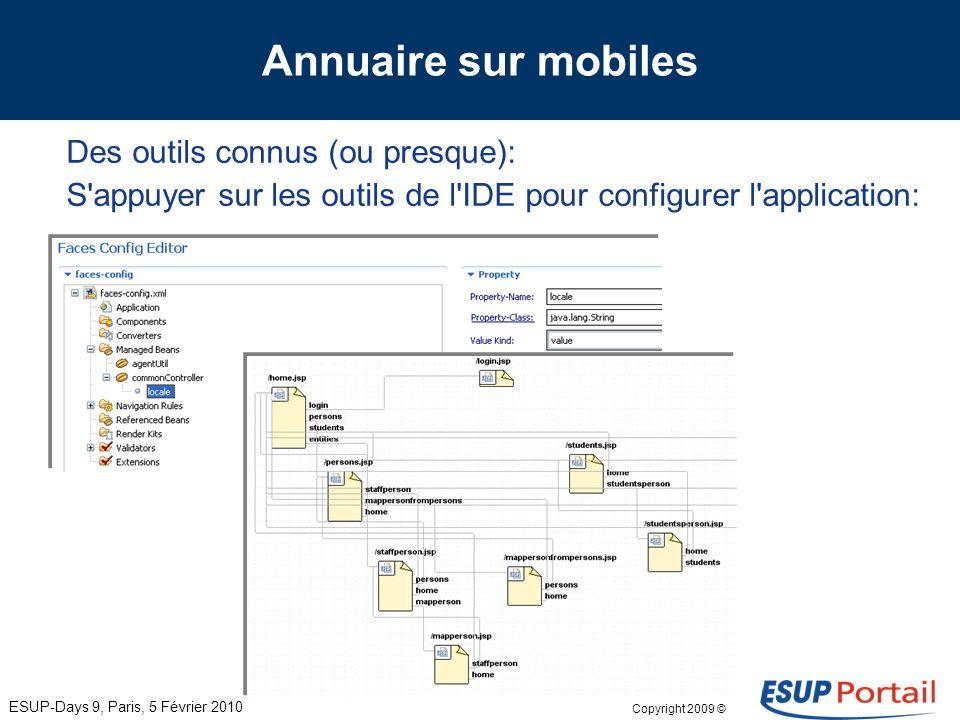 Copyright 2009 © Annuaire sur mobiles Des outils connus (ou presque): JSP ESUP-Days 9, Paris, 5 Février 2010 JSP