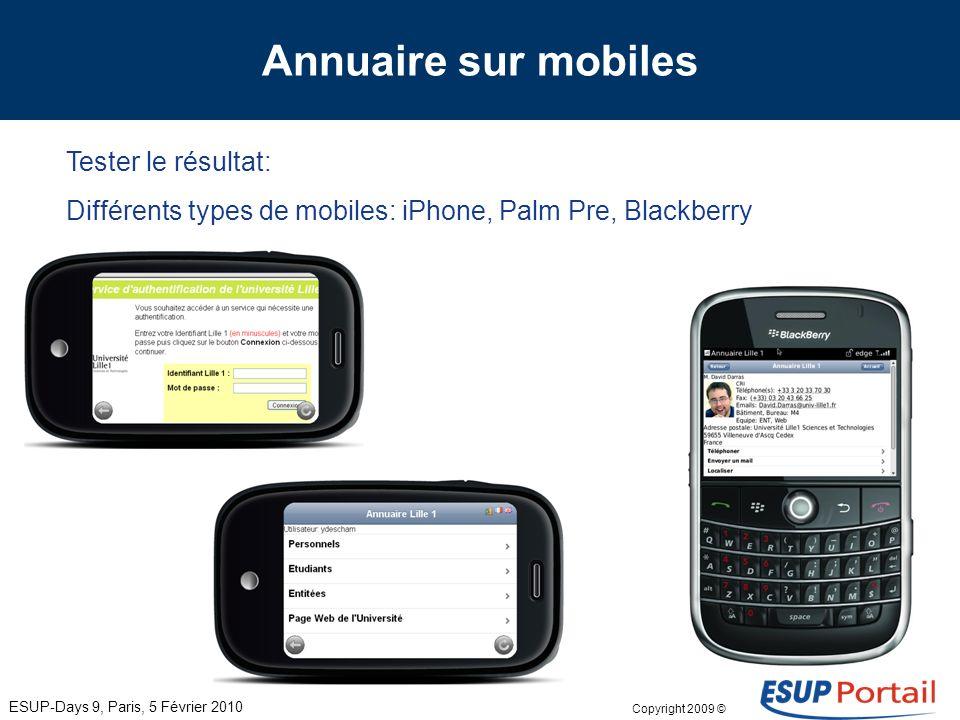 Copyright 2009 © Annuaire sur mobiles Des outils connus (ou presque): ESUP-Days 9, Paris, 5 Février 2010 Une organisation simple pour faire face aux d