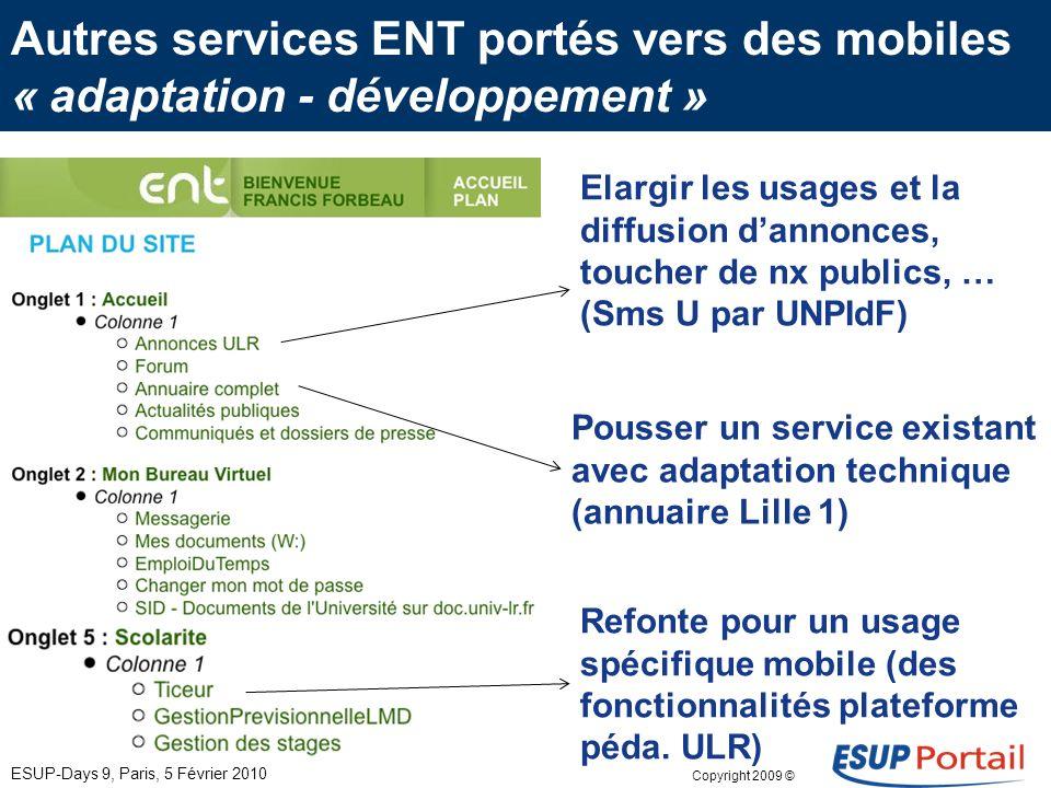 Copyright 2009 © Des premiers services numériques « facilement » disponibles messagerie professionnelle ou personnelle par liaison 3 G. accès ENT via
