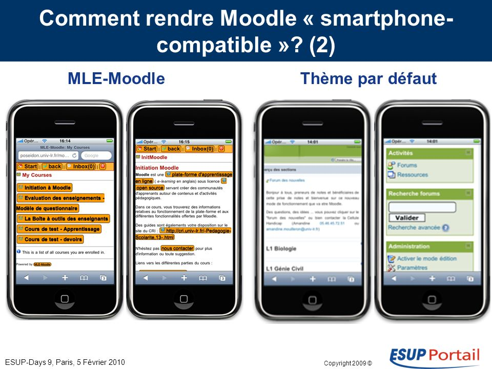 Copyright 2009 © Comment rendre Moodle « smartphone- compatible ».