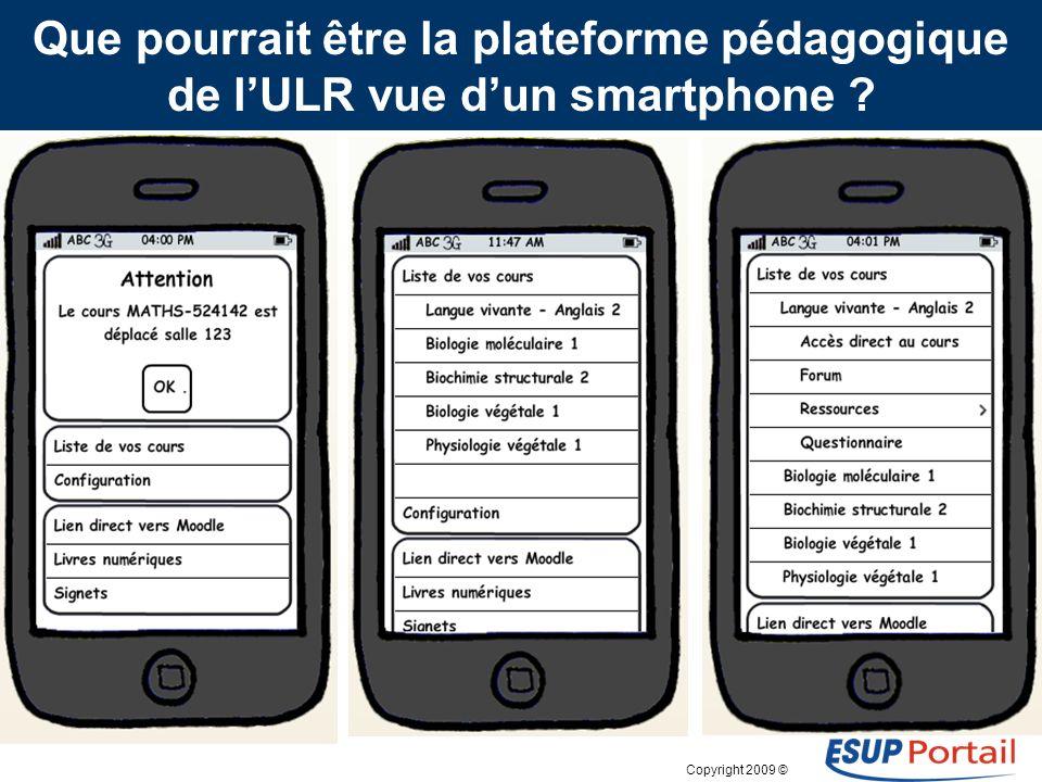 Copyright 2009 © Que pourrait être la plateforme pédagogique de lULR vue dun smartphone ? Interface actuelle du canal « Mes cours en ligne » dans lENT