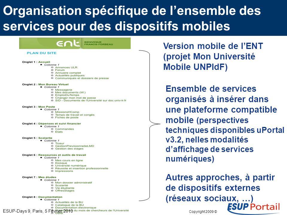 Copyright 2009 © Autres services ENT portés vers des mobiles « adaptation - développement » Pousser un service existant avec adaptation technique (ann