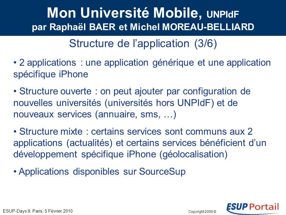 Copyright 2009 © Mon Université Mobile, UNPIdF par Raphaël BAER et Michel MOREAU-BELLIARD Objet du projet (2/6) ESUP-Days 9, Paris, 5 Février 2010 Permettre laccès, depuis un téléphone portable, à des contenus universitaires : 1.