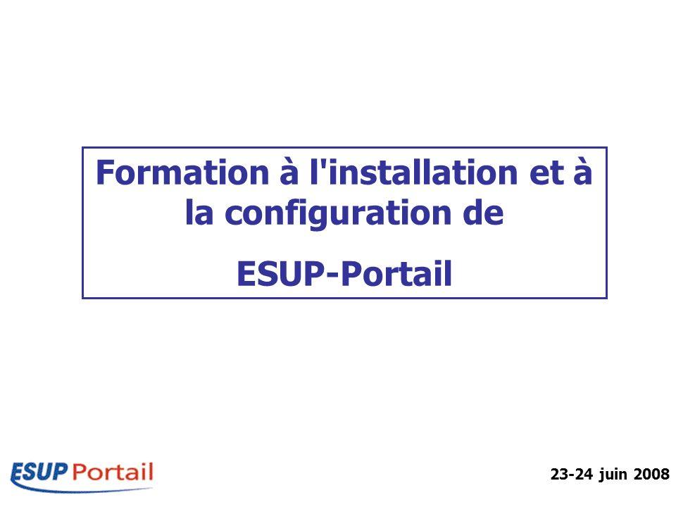 IntroductionESUP-PortailPré RequisPackages Architecture esupdev-2.6-esup-2.0.2 contribs custom uPortal Tomcat logs packages Portail Ant-X.X.X Hsqldb-X.X.X.X Tomcat-X.X.X uPortal_rel-X.X.X webapps resources tmp update Contributions externes Personnalisations Etablissement logs du portail packages téléchargés Distribution ANT Distribution HSQL Distribution Tomcat Distribution uPortal Déploiement Esup Fichiers nécessaires au fonctionnement Répertoire temporaire du package Personnalisations Esup InterfacePréférences Formation ESUP-Portail – 23-24 juin 2008