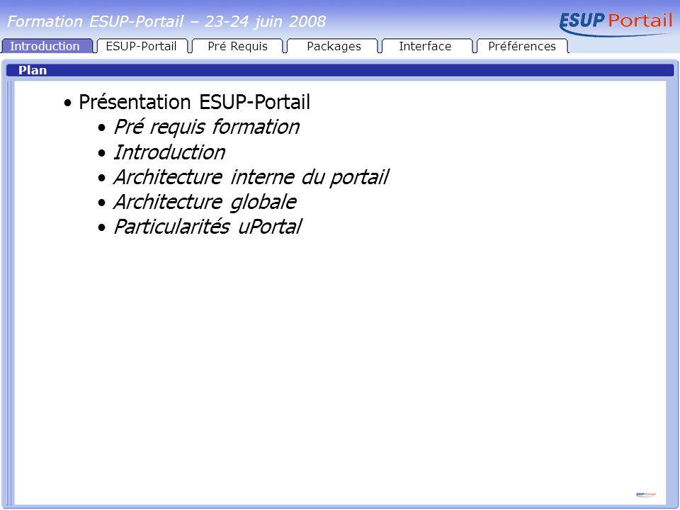 IntroductionESUP-PortailPré RequisPackages Plan Présentation ESUP-Portail Pré requis à l installation de ESUP-Portail Java SGBD / LDAP ANT InterfacePréférences Formation ESUP-Portail – 23-24 juin 2008
