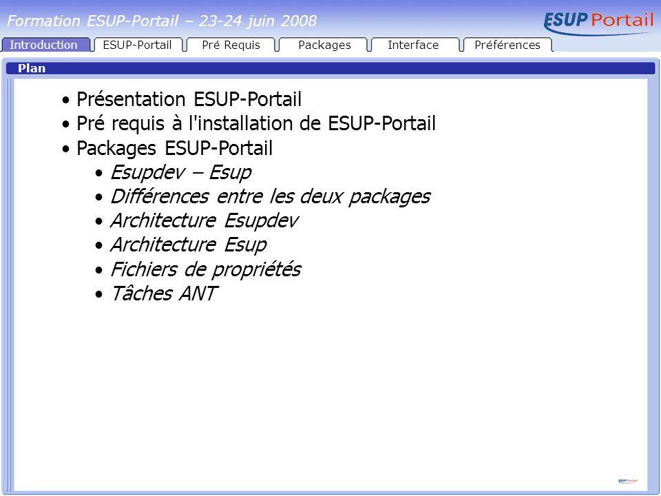 IntroductionESUP-PortailPré RequisPackages Tâches ANT Toutes les tâches ANT sont à exécuter depuis la racine du package getcomponents : Télécharge les packages tiers (uPortal, Ant, HSQL, Tomcat) unzip : Décompresse les packages tiers init : copie scripts -> racine copie resources/drivers -> Portail/uPortal_rel-X.X.X/lib/container-common copie update/uPortal -> Portail/uPortal_rel-X.X.X copie custom/uPortal -> Portail/uPortal_rel-X.X.X met à jour les fichiers de propriétés de uPortal, met à jour les fichiers de propriétés de Tomcat (ESUPDEV uniquement) InterfacePréférences Formation ESUP-Portail – 23-24 juin 2008