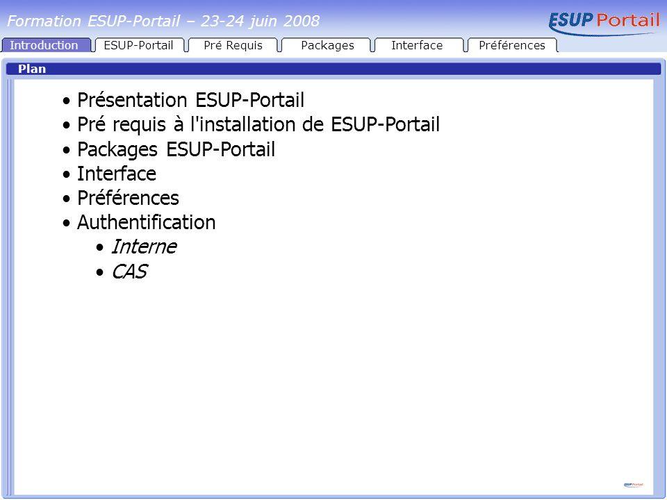 Architecture esupportail.univ.fr esupportail1.univ.fr esupportail2.univ.fr esupportail3.univ.fr esupportail4.univ.fr cas.univ.fr AJP13 HTTPSHTTPS Tomcat HTTPS Apache HTTP+S mod_proxy_ajp Tomcat AJP13 CASGroupesCanauxEnvironnementPrésentation Authentification Formation ESUP-Portail – 23-24 juin 2008