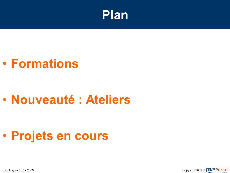 Copyright 2008 ©EsupDay 7 - 03/02/2009 Plan Formations Nouveauté : Ateliers Projets en cours