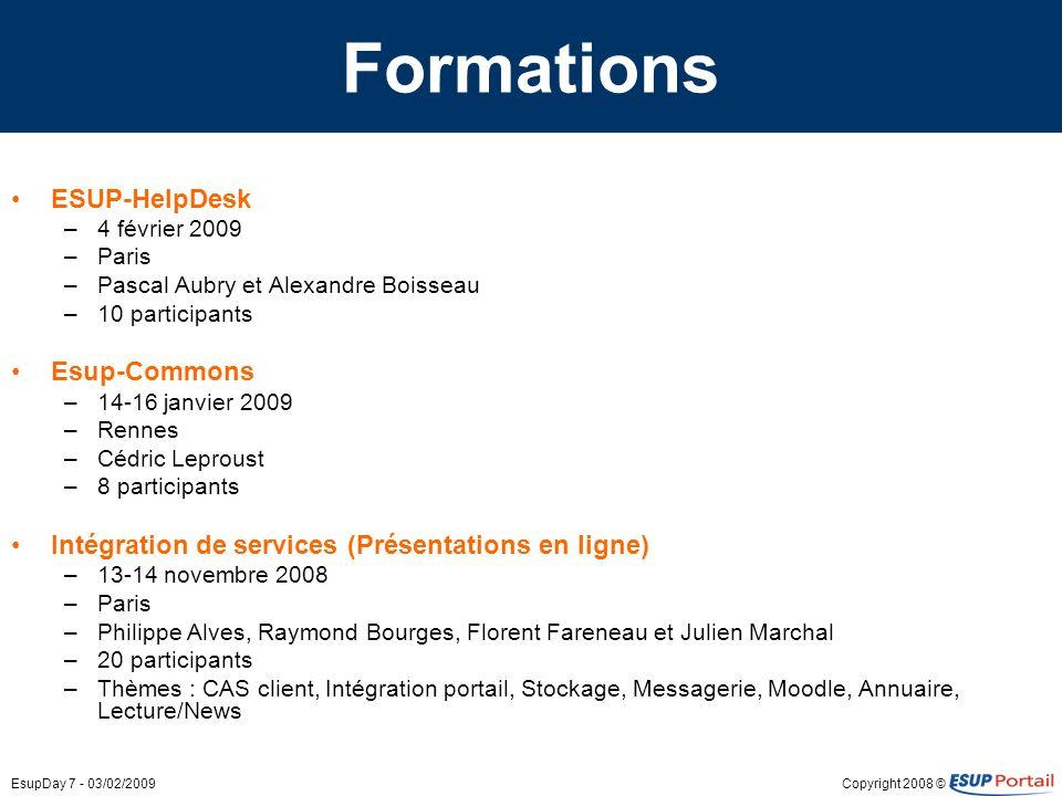 Copyright 2008 ©EsupDay 7 - 03/02/2009 Formations ESUP-HelpDesk –4 février 2009 –Paris –Pascal Aubry et Alexandre Boisseau –10 participants Esup-Commo