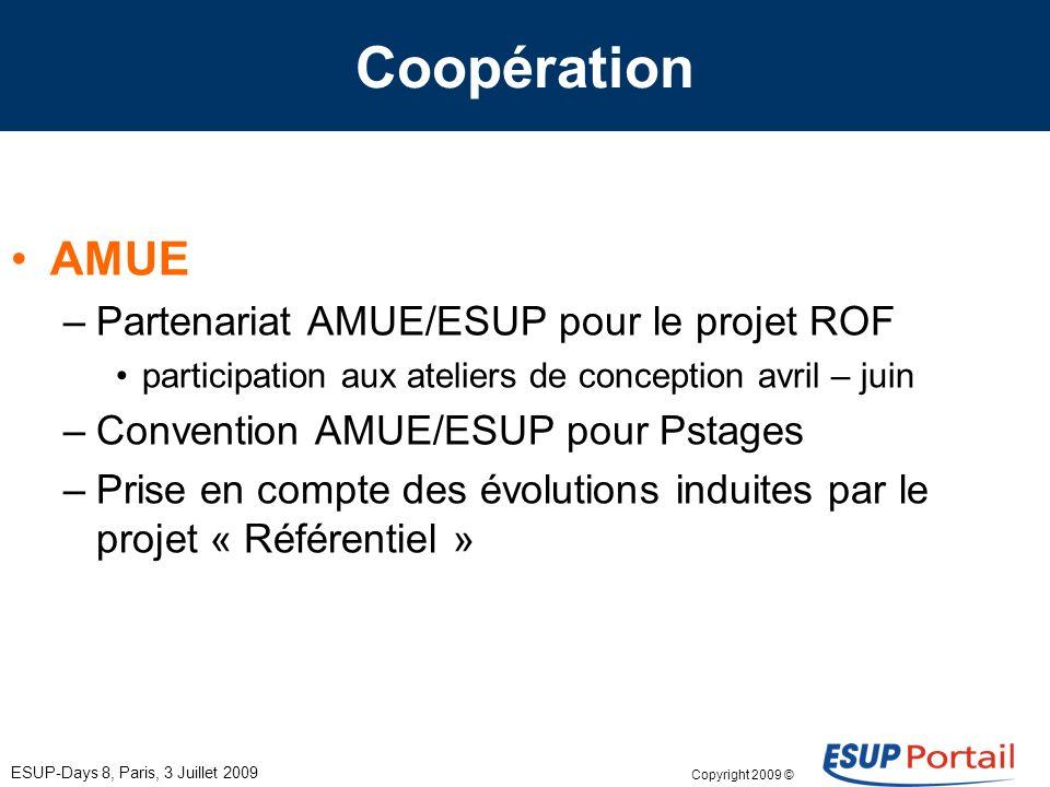 Copyright 2009 © ESUP-Days 8, Paris, 3 Juillet 2009 Coopération AMUE –Partenariat AMUE/ESUP pour le projet ROF participation aux ateliers de conceptio