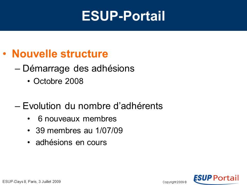 Copyright 2009 © ESUP-Days 8, Paris, 3 Juillet 2009 ESUP-Portail Nouvelle structure –Démarrage des adhésions Octobre 2008 –Evolution du nombre dadhérents 6 nouveaux membres 39 membres au 1/07/09 adhésions en cours