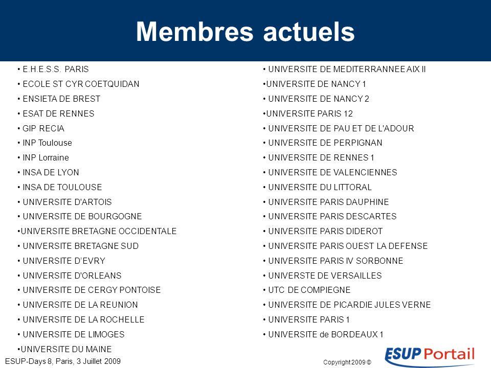 Copyright 2009 © ESUP-Days 8, Paris, 3 Juillet 2009 Membres actuels E.H.E.S.S. PARIS ECOLE ST CYR COETQUIDAN ENSIETA DE BREST ESAT DE RENNES GIP RECIA