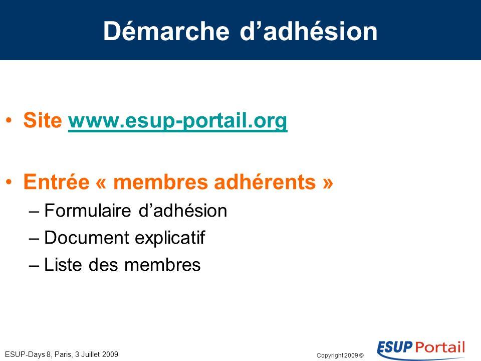 Copyright 2009 © ESUP-Days 8, Paris, 3 Juillet 2009 Démarche dadhésion Site www.esup-portail.orgwww.esup-portail.org Entrée « membres adhérents » –For