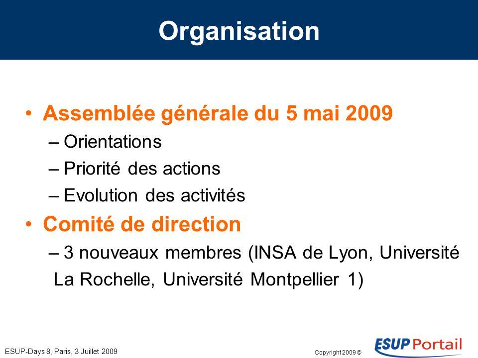Copyright 2009 © ESUP-Days 8, Paris, 3 Juillet 2009 Organisation Assemblée générale du 5 mai 2009 –Orientations –Priorité des actions –Evolution des a