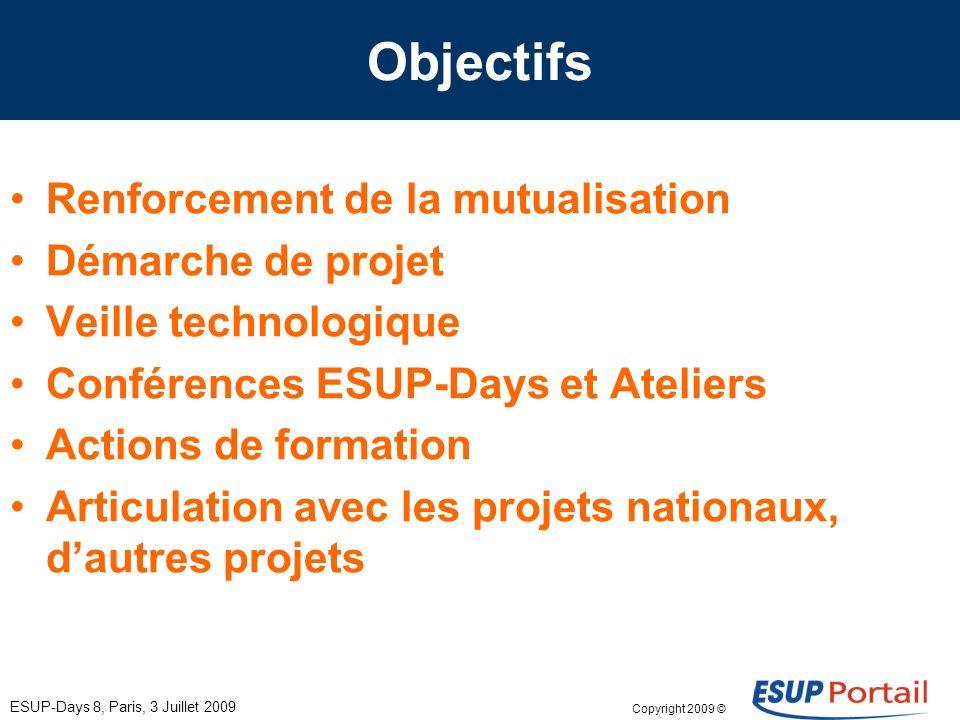 Copyright 2009 © ESUP-Days 8, Paris, 3 Juillet 2009 Objectifs Renforcement de la mutualisation Démarche de projet Veille technologique Conférences ESU