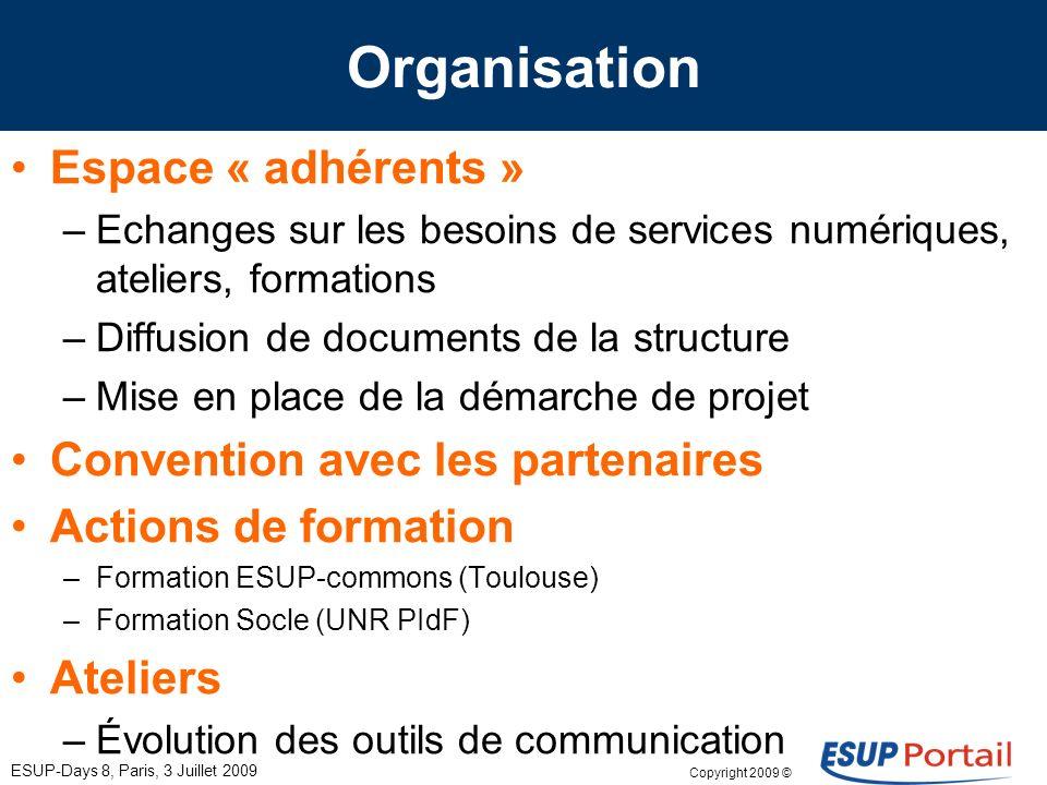Copyright 2009 © ESUP-Days 8, Paris, 3 Juillet 2009 Organisation Espace « adhérents » –Echanges sur les besoins de services numériques, ateliers, form