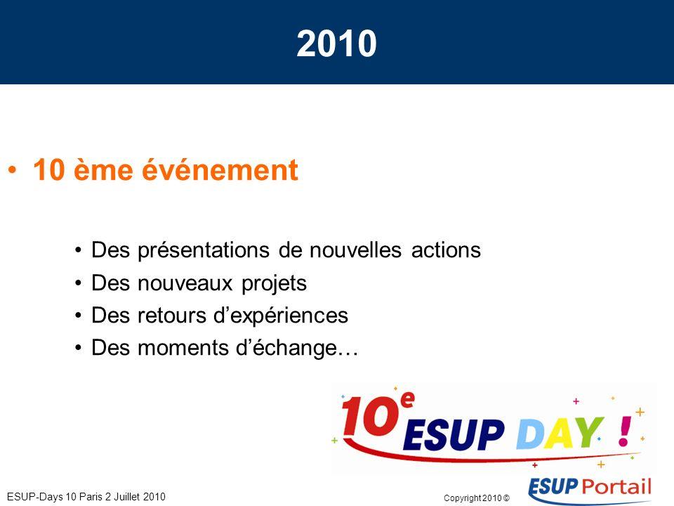 Copyright 2010 © ESUP-Days 10 Paris 2 Juillet 2010 2010 10 ème événement Des présentations de nouvelles actions Des nouveaux projets Des retours dexpériences Des moments déchange…