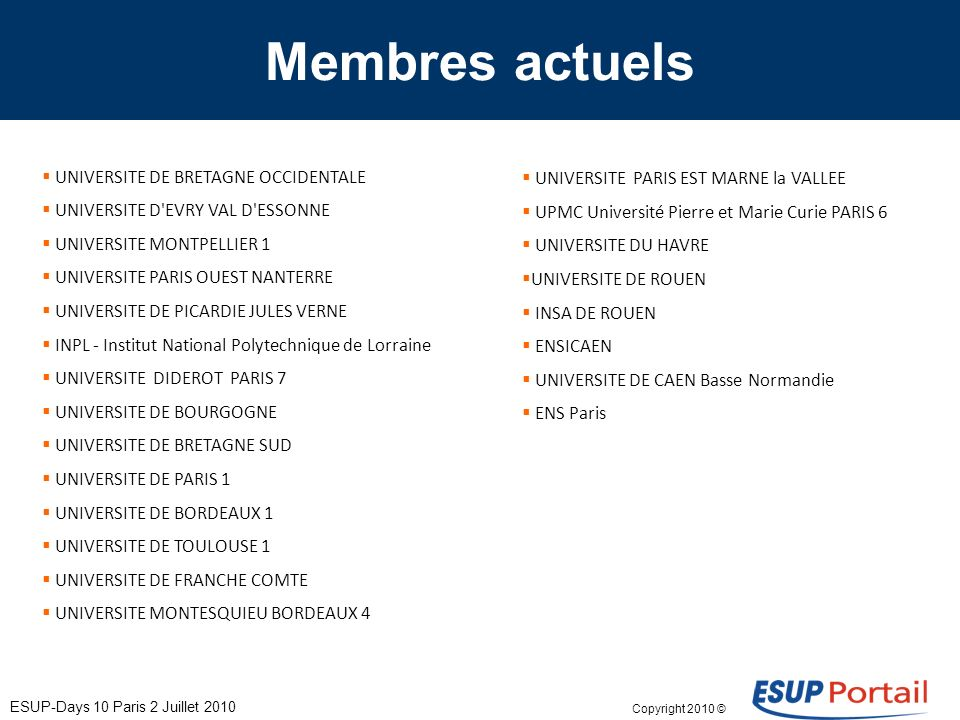 Copyright 2010 © Membres actuels UNIVERSITE DE BRETAGNE OCCIDENTALE UNIVERSITE D EVRY VAL D ESSONNE UNIVERSITE MONTPELLIER 1 UNIVERSITE PARIS OUEST NANTERRE UNIVERSITE DE PICARDIE JULES VERNE INPL - Institut National Polytechnique de Lorraine UNIVERSITE DIDEROT PARIS 7 UNIVERSITE DE BOURGOGNE UNIVERSITE DE BRETAGNE SUD UNIVERSITE DE PARIS 1 UNIVERSITE DE BORDEAUX 1 UNIVERSITE DE TOULOUSE 1 UNIVERSITE DE FRANCHE COMTE UNIVERSITE MONTESQUIEU BORDEAUX 4 UNIVERSITE PARIS EST MARNE la VALLEE UPMC Université Pierre et Marie Curie PARIS 6 UNIVERSITE DU HAVRE UNIVERSITE DE ROUEN INSA DE ROUEN ENSICAEN UNIVERSITE DE CAEN Basse Normandie ENS Paris ESUP-Days 10 Paris 2 Juillet 2010