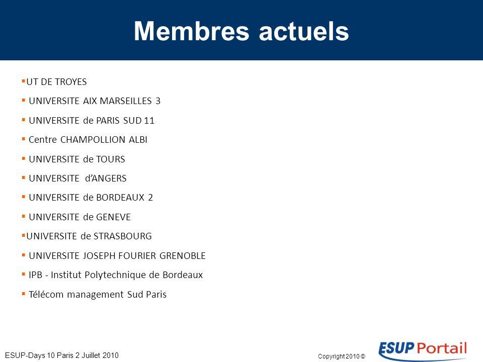 Copyright 2010 © ESUP-Days 10 Paris 2 Juillet 2010 Actions en cours Généralisation ESUP V3 Travaux ESUP V3.2 ESUP-Common V2 ESUP-ECM Bureau numérique