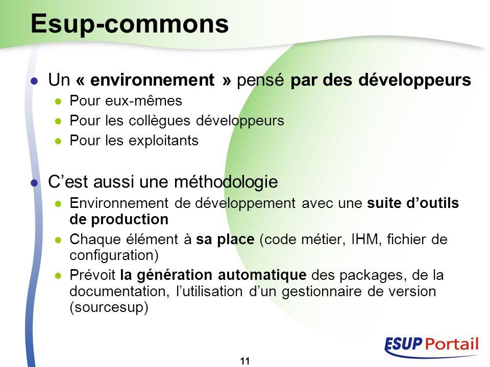 11 Esup-commons Un « environnement » pensé par des développeurs Pour eux-mêmes Pour les collègues développeurs Pour les exploitants Cest aussi une mét