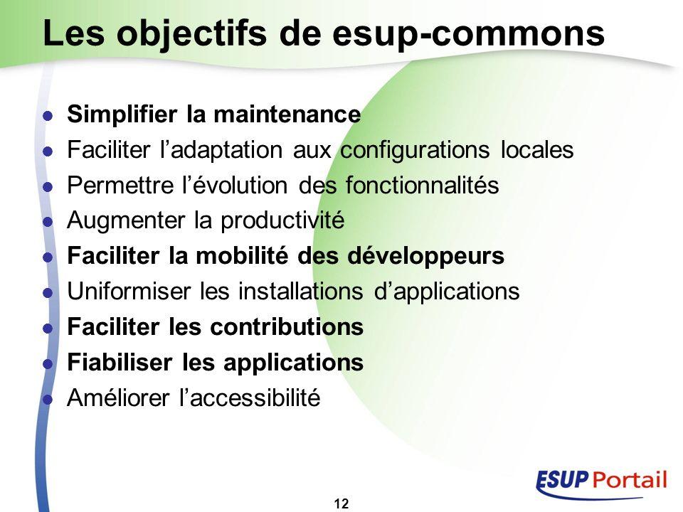12 Les objectifs de esup-commons Simplifier la maintenance Faciliter ladaptation aux configurations locales Permettre lévolution des fonctionnalités A
