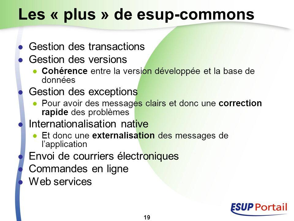19 Les « plus » de esup-commons Gestion des transactions Gestion des versions Cohérence entre la version développée et la base de données Gestion des