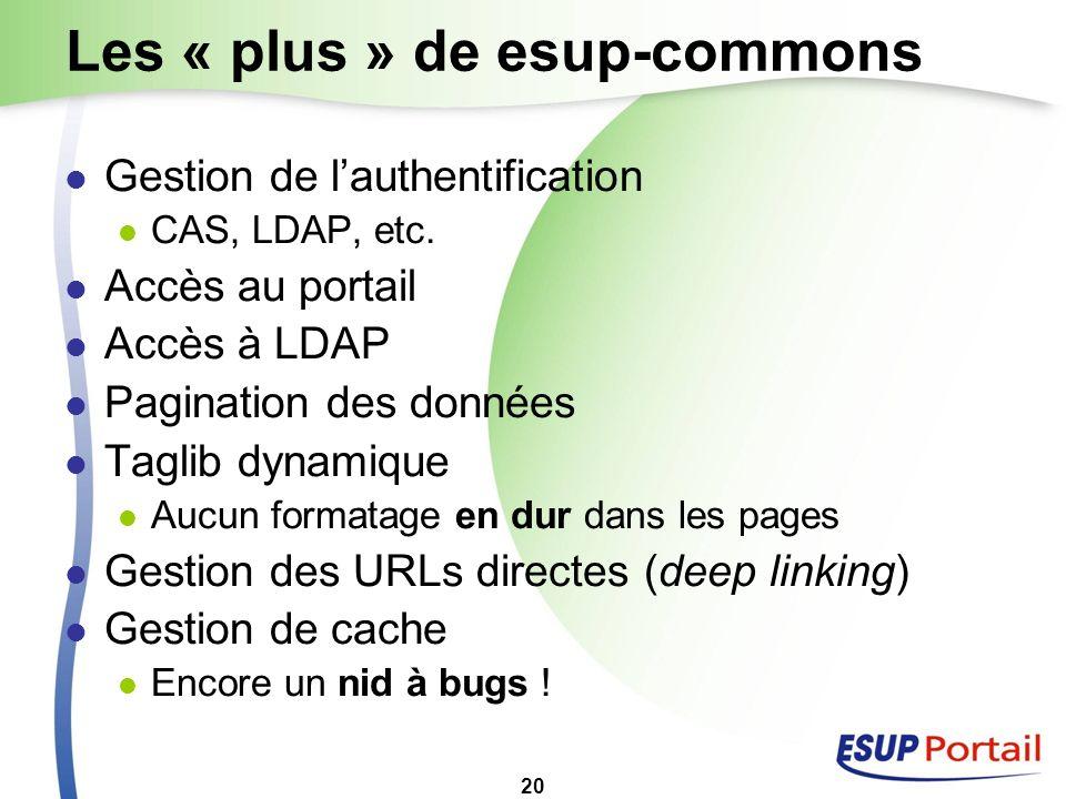 20 Les « plus » de esup-commons Gestion de lauthentification CAS, LDAP, etc. Accès au portail Accès à LDAP Pagination des données Taglib dynamique Auc