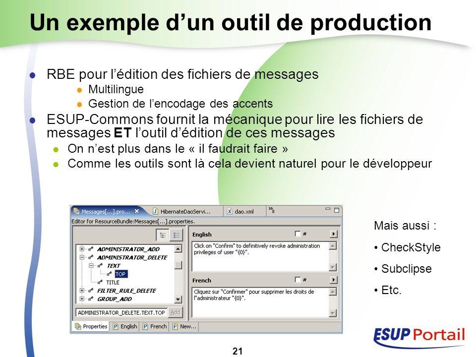21 Un exemple dun outil de production RBE pour lédition des fichiers de messages Multilingue Gestion de lencodage des accents ESUP-Commons fournit la