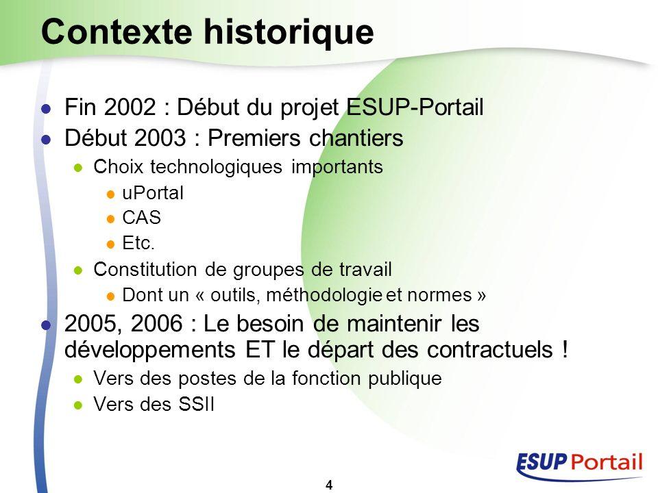 4 Contexte historique Fin 2002 : Début du projet ESUP-Portail Début 2003 : Premiers chantiers Choix technologiques importants uPortal CAS Etc. Constit