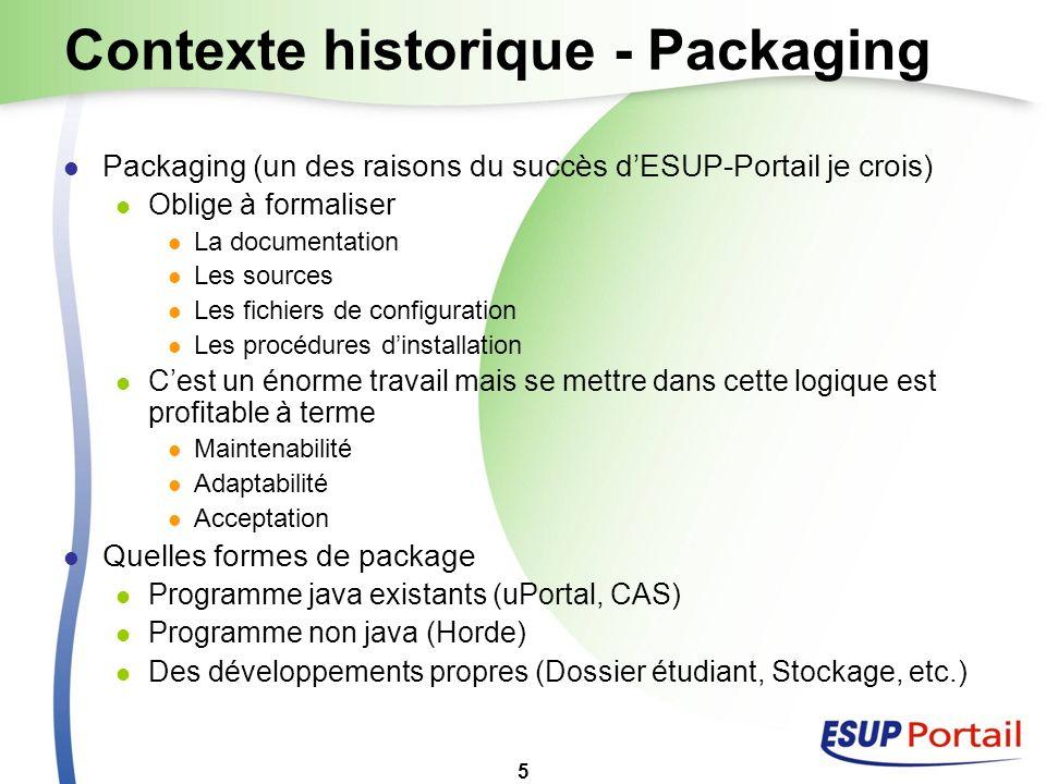 5 Contexte historique - Packaging Packaging (un des raisons du succès dESUP-Portail je crois) Oblige à formaliser La documentation Les sources Les fic
