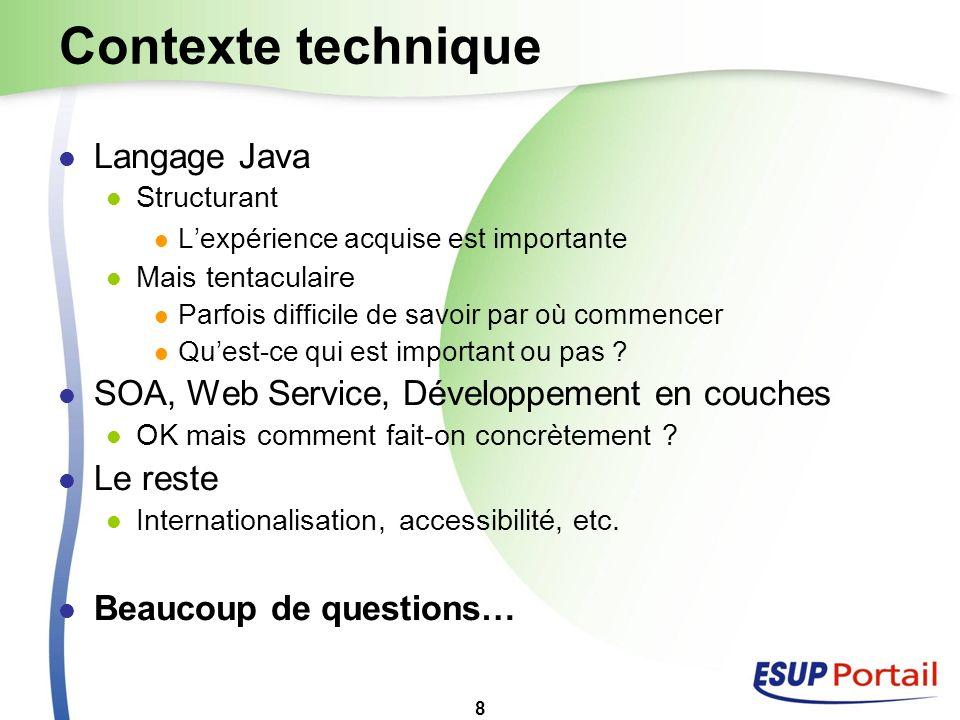 8 Contexte technique Langage Java Structurant Lexpérience acquise est importante Mais tentaculaire Parfois difficile de savoir par où commencer Quest-